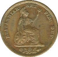 reverse of 1/2 Farthing - William IV (1837) coin with KM# 724 from United Kingdom. Inscription: BRITANNIAR: REX: FID: DEF: