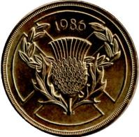 reverse of 2 Pounds - Elizabeth II - Commonwealth Games - 3'rd Portrait (1986) coin with KM# 947 from United Kingdom. Inscription: 1986 N S