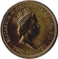 obverse of 2 Pounds - Elizabeth II - Bank of England Anniversary - 3'rd Portrait (1994) coin with KM# 968 from United Kingdom. Inscription: ELIZABETH · II · DEI · GRATIA · REGINA · F · D · TWO POUNDS · RDM