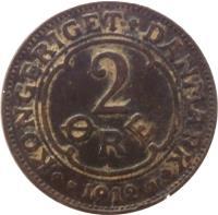 reverse of 2 Øre - Frederik VIII (1907 - 1912) coin with KM# 805 from Denmark. Inscription: KONGERIGET DANMARK 2 ØRE 1912