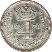 reverse of 4 Pence - Elizabeth II - Maundy Coinage; 1'st Portrait (1954 - 2012) coin with KM# 902 from United Kingdom. Inscription: 19 4 70