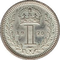 reverse of 1 Penny - Elizabeth II - Maundy Coinage; 1'st Portrait (1954 - 2012) coin with KM# 898 from United Kingdom. Inscription: 19 1 70