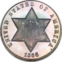 obverse of 3 Cents - Two outlines in star (1859 - 1873) coin with KM# 88 from United States. Inscription: UNITED STATES OF AMERICA 1866