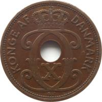 obverse of 5 Øre - Christian X (1927 - 1940) coin with KM# 828 from Denmark. Inscription: KONGE AF DANMARK