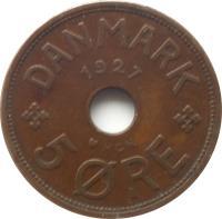 reverse of 5 Øre - Christian X (1927 - 1940) coin with KM# 828 from Denmark. Inscription: DANMARK 1927 5 ØRE