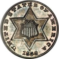 obverse of 3 Cents - Three outlines in star (1854 - 1858) coin with KM# 80 from United States. Inscription: UNITED STATES OF AMERICA 1858