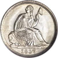 obverse of 1/2 Dime - Seated Liberty Half Dime; Without stars (1837 - 1838) coin with KM# 60 from United States. Inscription: LIBERTY 1837