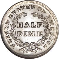 reverse of 1/2 Dime - Seated Liberty Half Dime; Without stars (1837 - 1838) coin with KM# 60 from United States. Inscription: UNITED STATES OF AMERICA HALF DIME