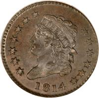 obverse of 1 Cent - Capped Bust - Classic Head Cent (1808 - 1814) coin with KM# 39 from United States. Inscription: LIBERTY 1811