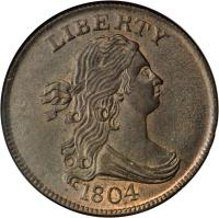 obverse of 1/2 Cent - Draped Bust Half Cent (1800 - 1808) coin with KM# 33 from United States. Inscription: LIBERTY 1804