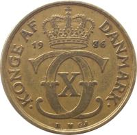 obverse of 1 Krone - Christian X (1924 - 1941) coin with KM# 824 from Denmark. Inscription: KONGE AF DANMARK 19 36
