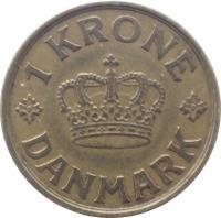 reverse of 1 Krone - Christian X (1924 - 1941) coin with KM# 824 from Denmark. Inscription: 1 KRONE DANMARK