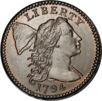 obverse of 1 Cent - Liberty Cap Cent (1793 - 1796) coin with KM# 13 from United States. Inscription: LIBERTY 1793