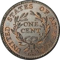 reverse of 1 Cent - Liberty Cap Cent (1793 - 1796) coin with KM# 13 from United States. Inscription: UNITED STATES OF AMERICA ONE CENT 1 100