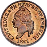 obverse of 1 Cent - Confederate States of America (1861) coin with KM# Pn1 from United States. Inscription: CONFEDERATE STATES OF AMERICA. 1861