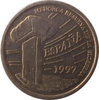 obverse of 5 Pesetas - Juan Carlos I - Islas Baleares (1997) coin with KM# 981 from Spain. Inscription: MENORCA RESERVA DE LA BIOSFERA ESPAÑA 1997