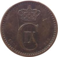 obverse of 1 Øre - Christian IX (1874 - 1904) coin with KM# 792 from Denmark. Inscription: C IX 1875