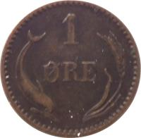 reverse of 1 Øre - Christian IX (1874 - 1904) coin with KM# 792 from Denmark. Inscription: 1 ØRE