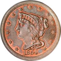 obverse of 1/2 Cent - Braided Hair Half Cent (1840 - 1857) coin with KM# 70 from United States. Inscription: LIBERTY 1854