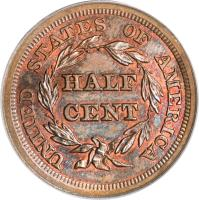 reverse of 1/2 Cent - Braided Hair Half Cent (1840 - 1857) coin with KM# 70 from United States. Inscription: UNITED STATES OF AMERICA HALF CENT