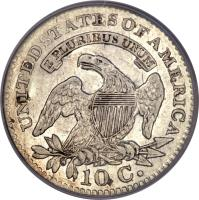 reverse of 1 Dime - Liberty Cap Dime (1809 - 1828) coin with KM# 42 from United States. Inscription: UNITED STATES OF AMERICA E PLURIBUS UNUM 10 C.