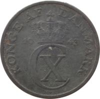 obverse of 2 Øre - Christian X (1942 - 1947) coin with KM# 833a from Denmark. Inscription: KONGE AF DANMARK 19 43