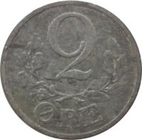 reverse of 2 Øre - Christian X (1942 - 1947) coin with KM# 833a from Denmark. Inscription: 2 ØRE