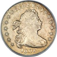 obverse of 1 Dime - Draped Bust Dime; Heraldic eagle (1798 - 1807) coin with KM# 31 from United States.