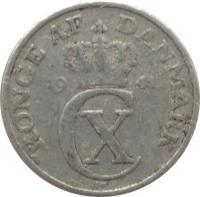 obverse of 2 Øre - Christian X (1941) coin with KM# 833 from Denmark. Inscription: KONGE AF DANMARK 19 41
