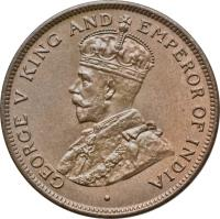 obverse of 1 Cent - George V (1914 - 1936) coin with KM# 19 from Belize. Inscription: GEORGE V KING AND EMPEROR OF INDIA ·