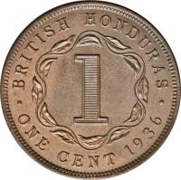reverse of 1 Cent - George V (1914 - 1936) coin with KM# 19 from Belize. Inscription: BRITISH HONDURAS 1 · ONE CENT 1919 ·