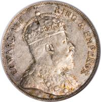 obverse of 50 Cents - Edward VII (1906 - 1907) coin with KM# 13 from Belize. Inscription: EDWARD VII KING & EMPEROR