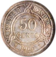 reverse of 50 Cents - Edward VII (1906 - 1907) coin with KM# 13 from Belize. Inscription: BRITISH HONDURAS 50 CENTS · 1906 ·