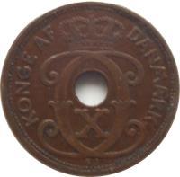 obverse of 2 Øre - Christian X (1926 - 1940) coin with KM# 827 from Denmark. Inscription: KONGE AF DANMARK