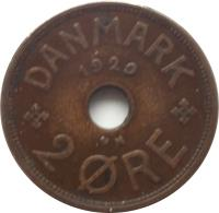 reverse of 2 Øre - Christian X (1926 - 1940) coin with KM# 827 from Denmark. Inscription: DANMARK 1929 2 ØRE