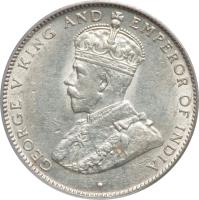 obverse of 25 Cents - George V (1911 - 1919) coin with KM# 17 from Belize. Inscription: · GEORGE V KING AND EMPEROR OF INDIA