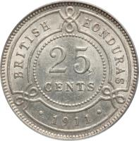 reverse of 25 Cents - George V (1911 - 1919) coin with KM# 17 from Belize. Inscription: BRITISH HONDURAS 25 CENTS · 1911 ·