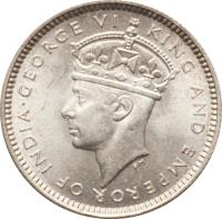 obverse of 10 Cents - George VI (1939 - 1946) coin with KM# 23 from Belize. Inscription: GEORGE VI KING AND EMPEROR OF INDIA