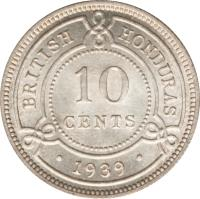 reverse of 10 Cents - George VI (1939 - 1946) coin with KM# 23 from Belize. Inscription: BRITISH HONDURAS 10 CENTS · 1946 ·