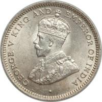 obverse of 10 Cents - George V (1918 - 1936) coin with KM# 20 from Belize. Inscription: · GEORGE V KING AND EMPEROR OF INDIA