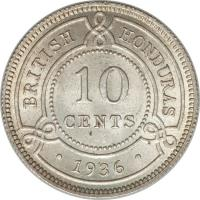 reverse of 10 Cents - George V (1918 - 1936) coin with KM# 20 from Belize. Inscription: BRITISH HONDURAS 10 CENTS · 1936 ·
