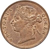 obverse of 1 Cent - Victoria (1885 - 1894) coin with KM# 6 from Belize. Inscription: VICTORIA QUEEN