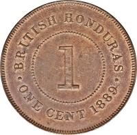 reverse of 1 Cent - Victoria (1885 - 1894) coin with KM# 6 from Belize. Inscription: BRITISH HONDURAS ONE CENT