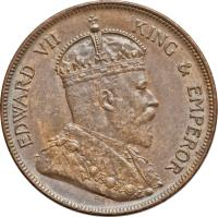 obverse of 1 Cent - Edward VII (1904 - 1909) coin with KM# 11 from Belize. Inscription: EDWARD VII KING & EMPEROR