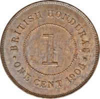 reverse of 1 Cent - Edward VII (1904 - 1909) coin with KM# 11 from Belize. Inscription: BRITISH HONDURAS 1 · ONE CENT 1904 ·