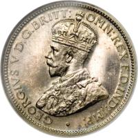 obverse of 6 Pence - George V (1913 - 1919) coin with KM# 11 from British West Africa. Inscription: GEORGIVS V D.G.BRITT: OMN:REX F.D.IND:IMP: · B.M.