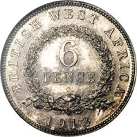 reverse of 6 Pence - George V (1913 - 1919) coin with KM# 11 from British West Africa. Inscription: BRITISH WEST AFRICA 6 PENCE 1918