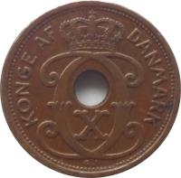 obverse of 1 Øre - Christian X (1926 - 1940) coin with KM# 826 from Denmark. Inscription: KONGE AF DANMARK CCX
