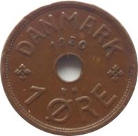 reverse of 1 Øre - Christian X (1926 - 1940) coin with KM# 826 from Denmark. Inscription: DANMARK 1930 1 ØRE
