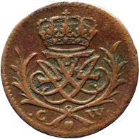 obverse of 1/2 Skilling Danske - Frederik IV (1719) coin with KM# 512 from Denmark. Inscription: C W